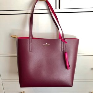 NWT Kate Spade Reversible Bag Tote Maroon & Pink